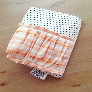 Image of Peachy Arrows large zip pouch // fancy dot