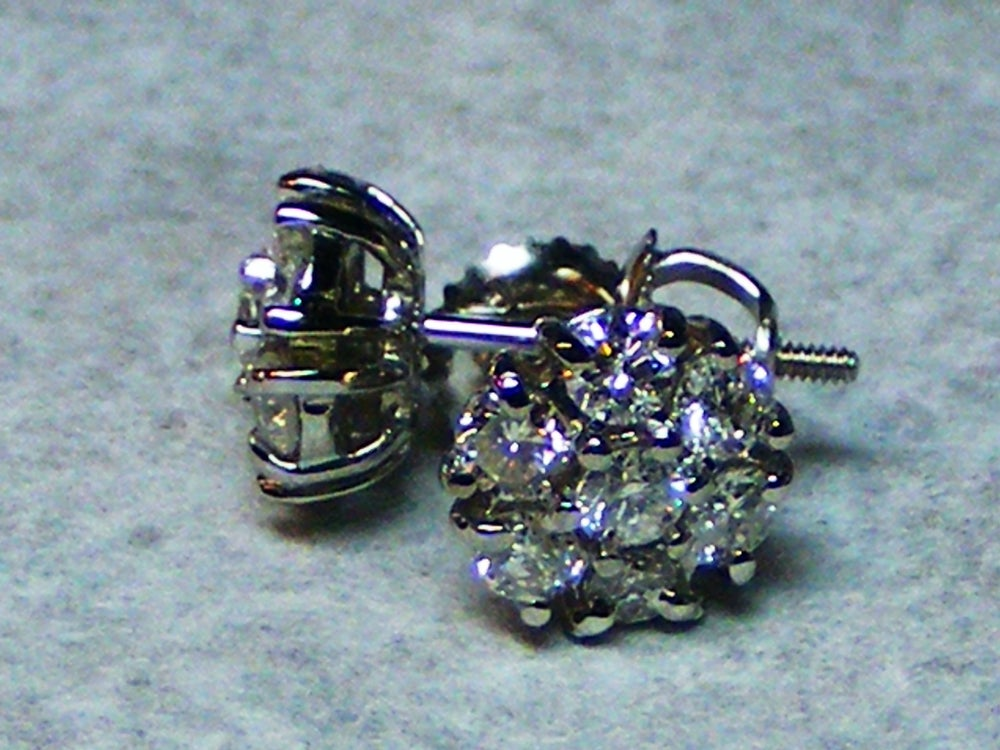 Image of Diamond cluster stud earrings