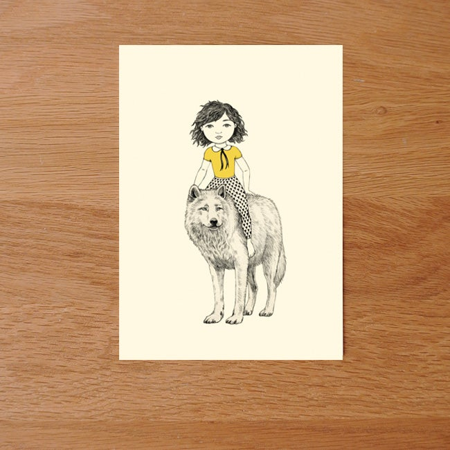 Image of Carte postale simple Fille et loup