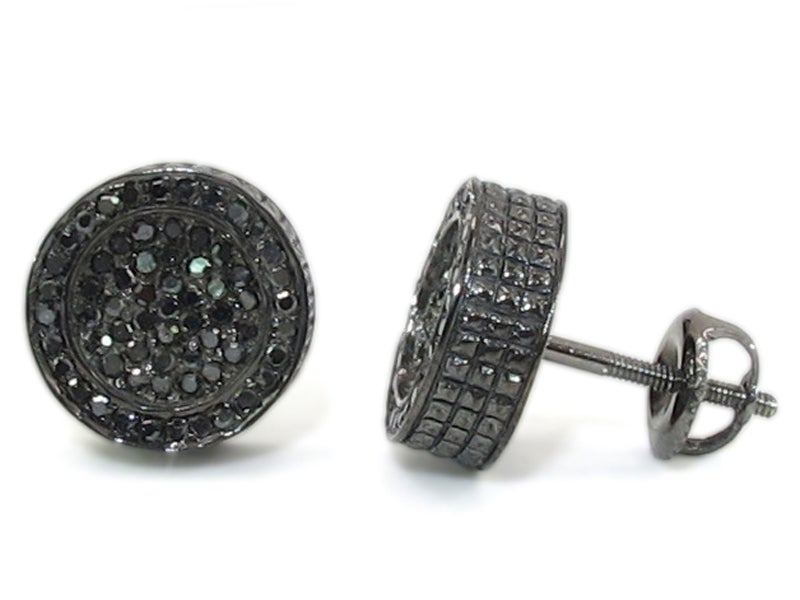 Image of 14kt Round Black diamond Micro pave earrings