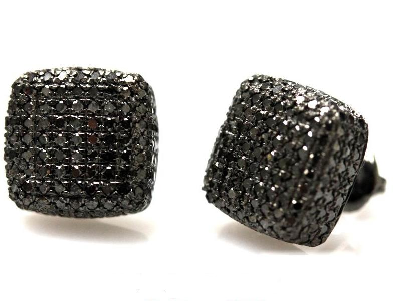 Image of 14kt square black diamond micro pave domed earrings