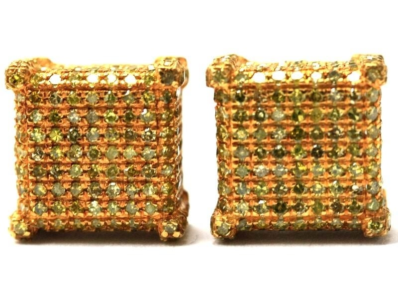 Image of 10kt micro pave canary yellow diamond earrings