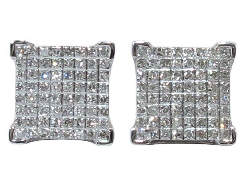 Image of 10kt Square micro pave studs
