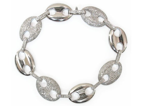 Image of 10kt white gold Diamond Gucci link Bracelet