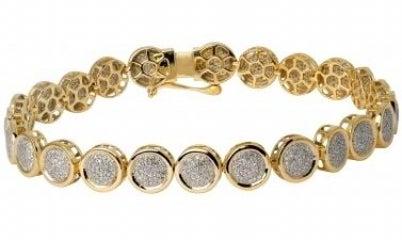 Image of 14kt round micro pave tennis bracelet