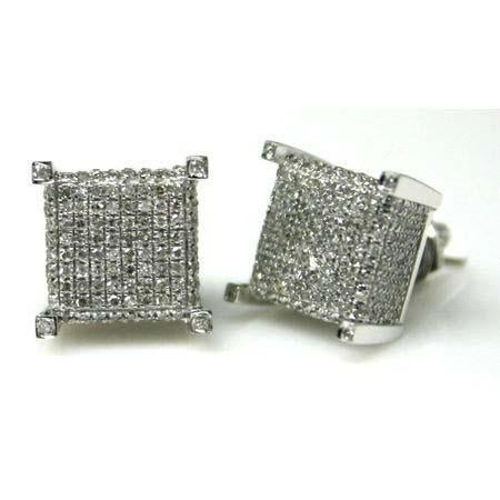 Image of 3D Micro Pave 14kt Diamond Earrings