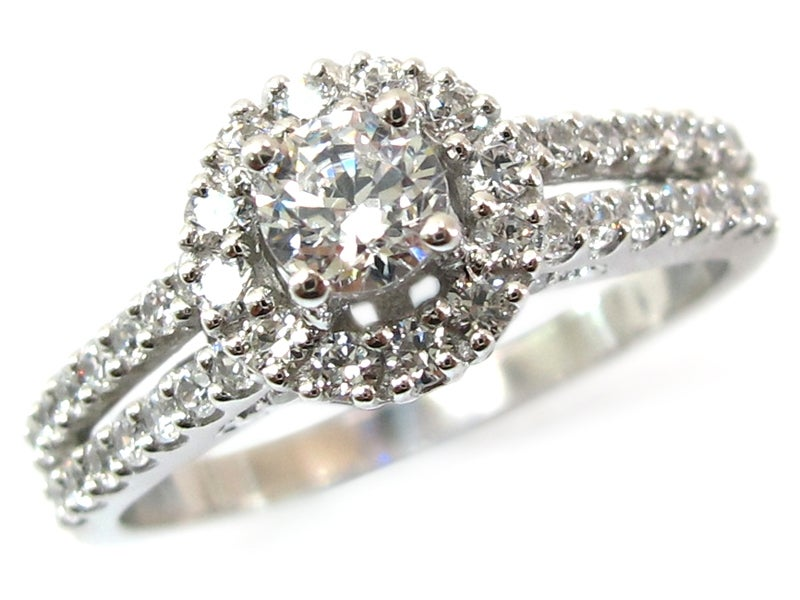 Image of 14kt Diamond double halo Engagement Style DZ4