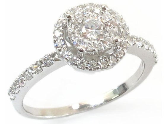 Image of 14kt Halo Solitaire style Engagement Style DZ8