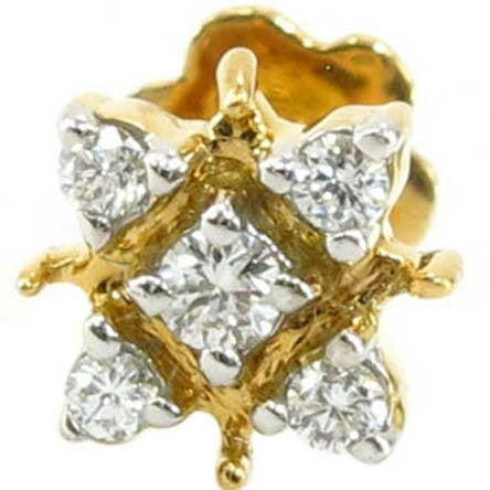 Image of 14kt ladies diamond nose pin