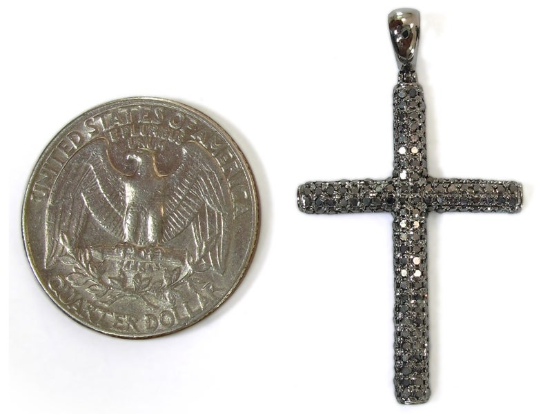 Image of 10KT Micro Pave Black Diamond Cross