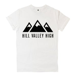 Image of Hill Valley High White Logo Tee
