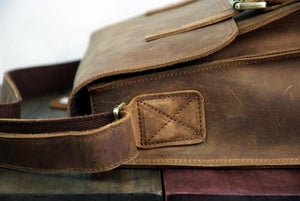 "Image of Vintage Handmade Antique Crazy Horse Leather Messenger Bag / 11"" MacBook Satchel (n72)"