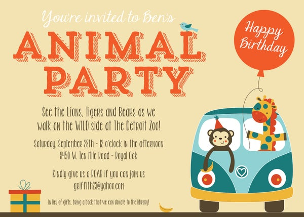 Image of Zoo Animal Party Invitation