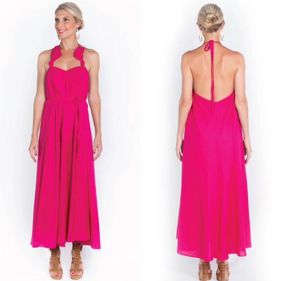 Image of all tied up maxi - sunset pink
