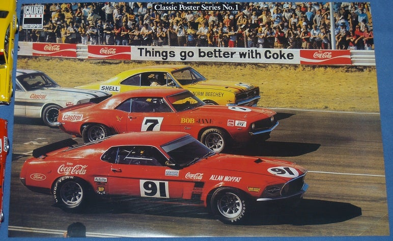 Image of ATCC 1971 CALDER GRID. NORM BEECHEY, ALLAN MOFFAT, BOB JANE. MUSTANG. CAMARO