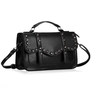 Image of Onyx Black Studded Satchel