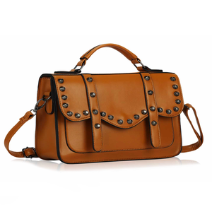 Image of Tan Studded Satchel