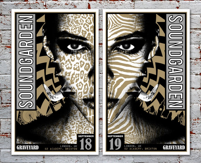 Image of SOLD OUT - Silver Variant Soundgarden & Graveyard London Silkscreen Posters