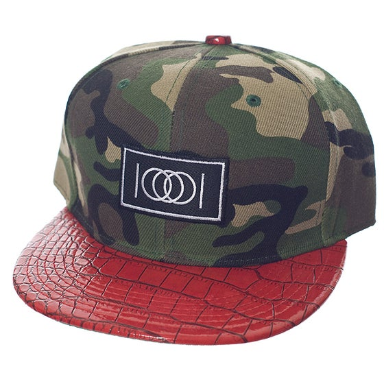 Image of The Camo Gator Snapback - Red Brim
