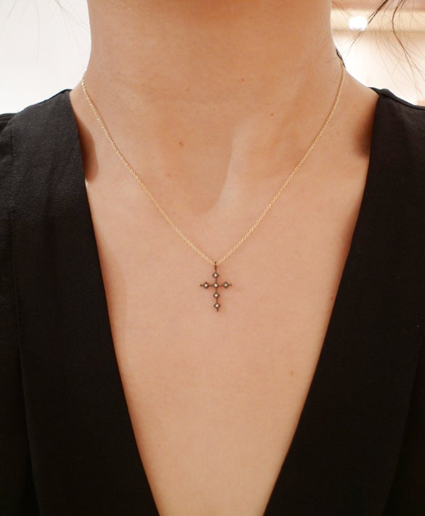 Image of Black Antique Cross Necklace