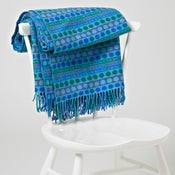 Image of Blue 'Popper Stripe' throw/blanket