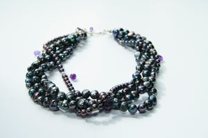 Image of Multi-Strand Peacock Pearl and Amethyst Collar
