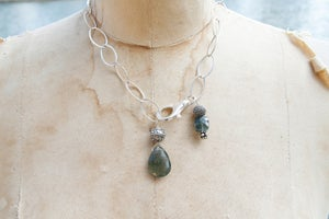Image of Sterling Silver Chain with Moss Aquamarine