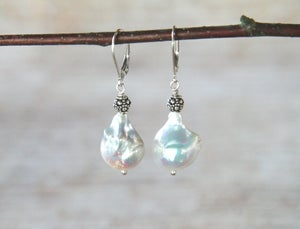 Image of White Baroque Pearl Earrings