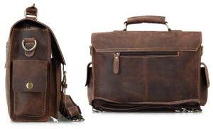 """Image of Vintage Handmade Crazy Horse Leather Briefcase / Messenger / 13"""" Laptop or 13"""" MacBook Bag (n23-3)"""