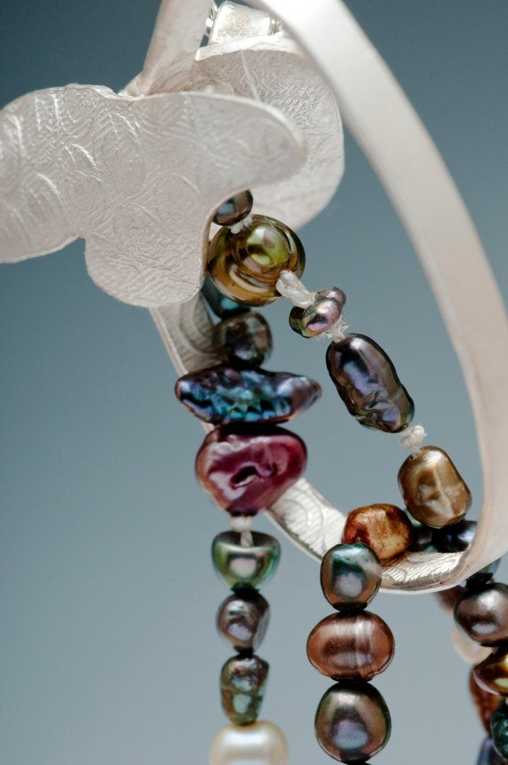 Image of Botanical Cascade Sterling Silver Colored Pearls Pendant