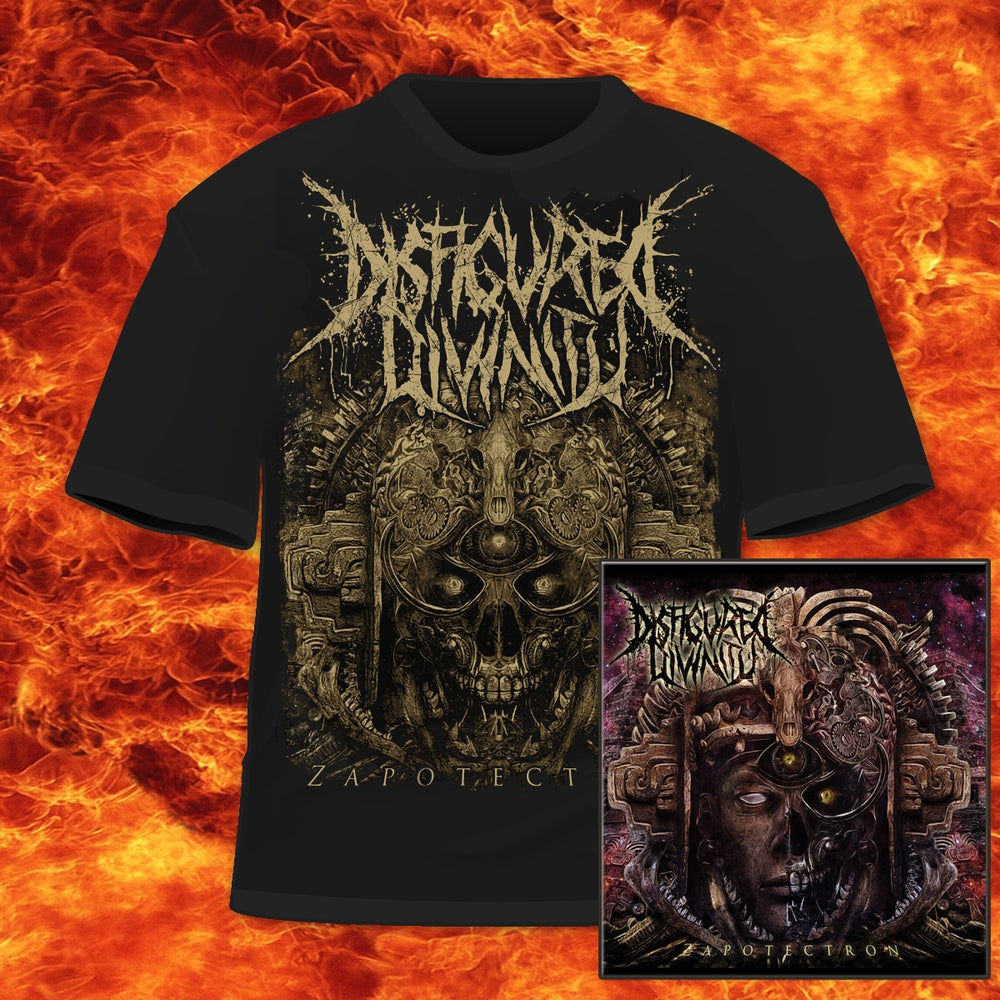 Image of DISFIGURED DIVINITY - ZAPOTECTRON-CD&T-SHIRT PACKAGE