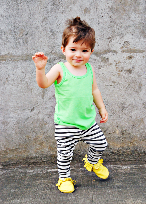Image of organic cotton black + white striped cuffed leggings