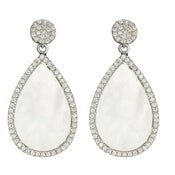 "Image of "" New "" Kara Ackerman <i> Talulah <i/> Mother of Pearl Earrings in Rhodium"