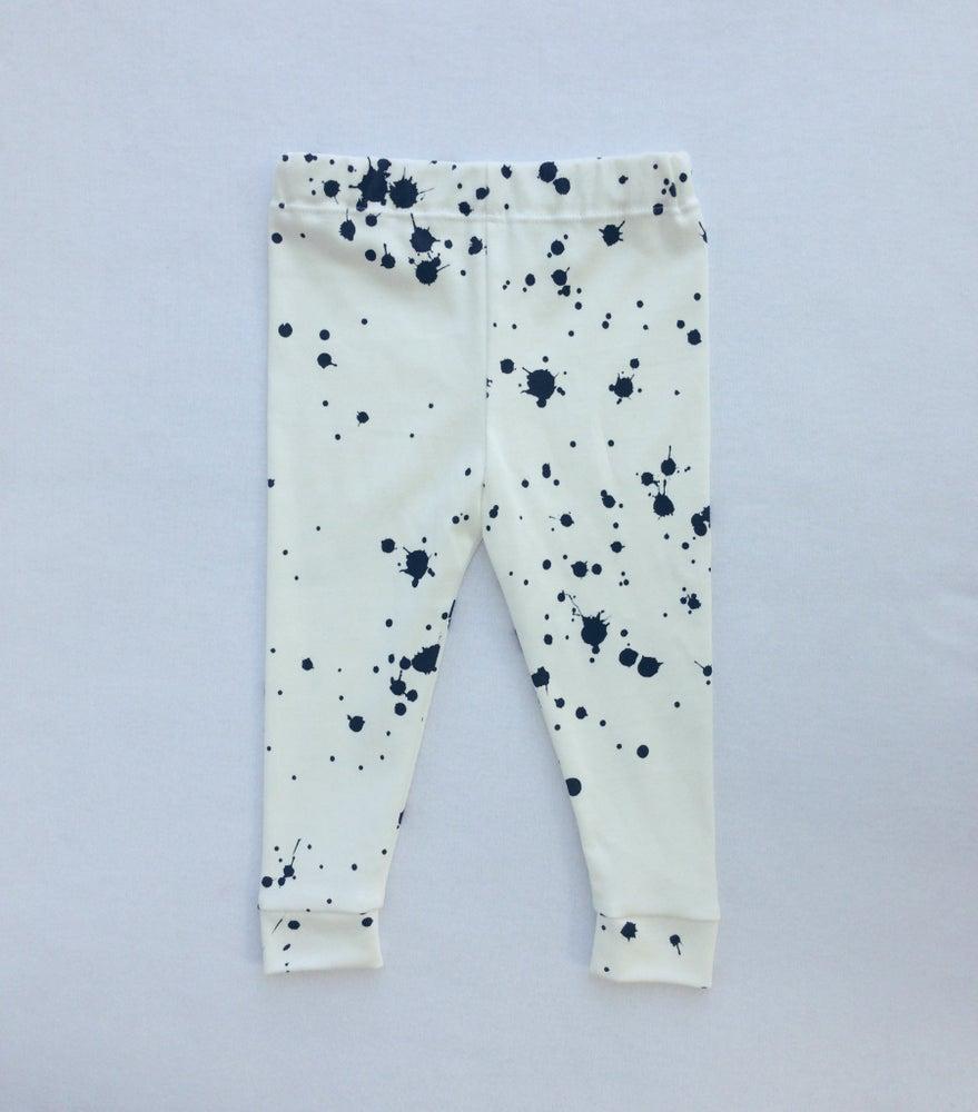 Image of ORGANIC COTTON BLACK + WHITE Splatter CUFFED LEGGINGS