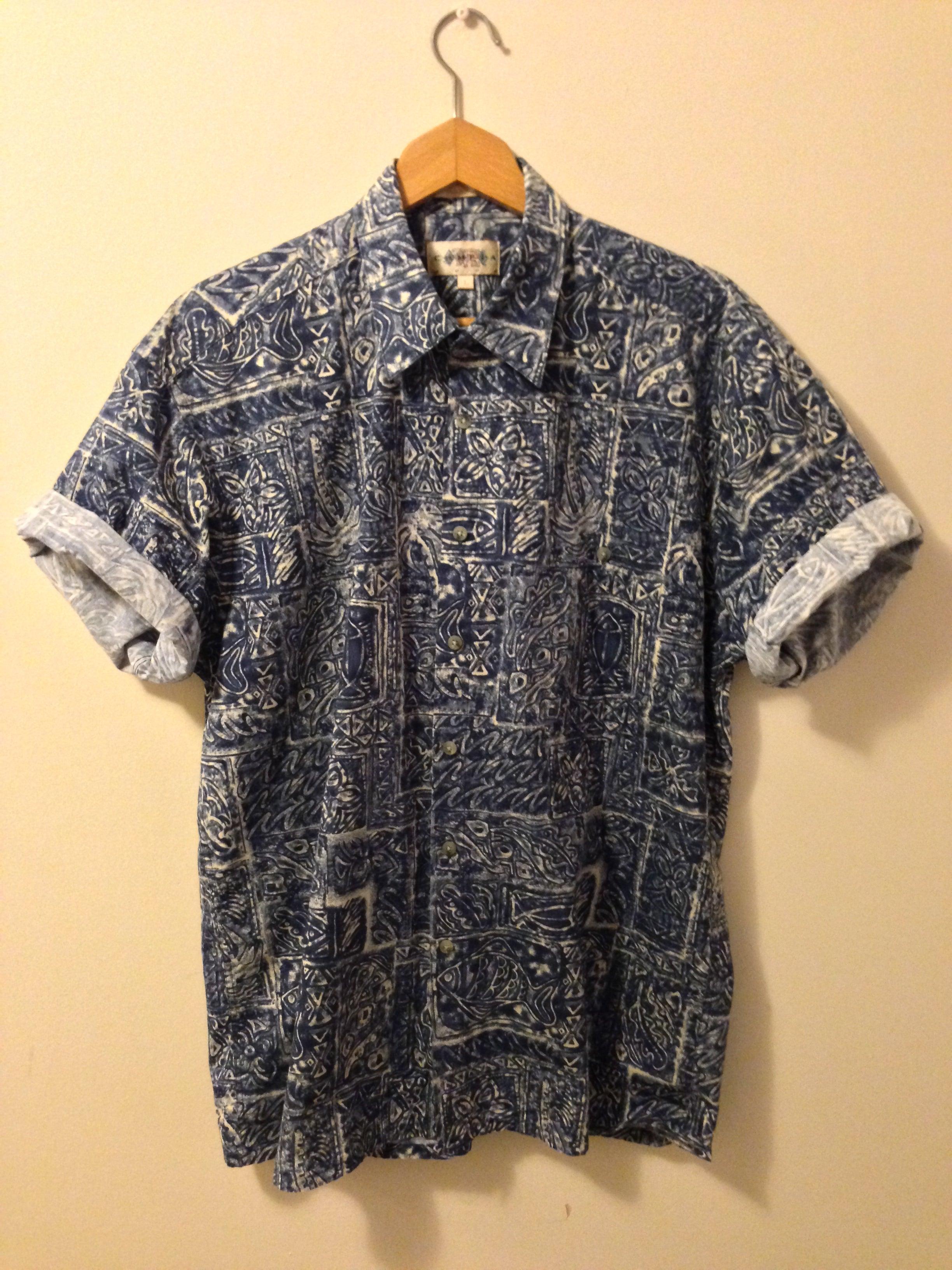 blue vintage patterned shirt lake clothing