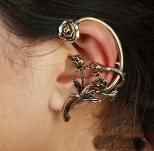 Image of Silver Rose and Snake Pattern Metal Earrings