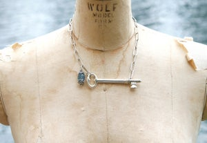 Image of Antique Sterling Silver Plated Key with Aquamarine