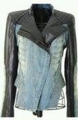 Image of Denim/Leather Blazer Moto Jacket