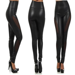 Image of Hi Waist Leatherette Panel Leggings