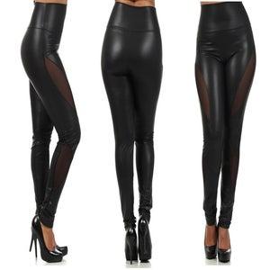 Image of Hi Waist Leatherette Panel Leggings