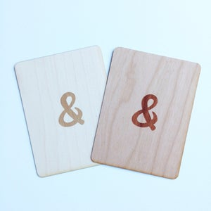 """Image of Ampersand 3""""x4"""" Wood Veneer Card"""