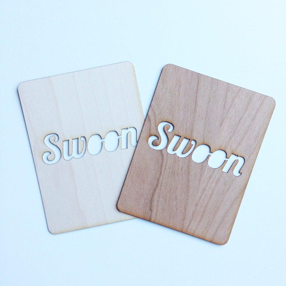 """Image of Swoon 3""""x4"""" Wood Veneer Card"""
