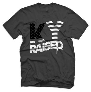 Image of KY Raised USA FLAG tee in Charcoal, Black & White
