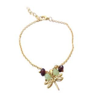 Bracelet petite libellule - violet et vert