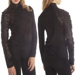 Image of Black Leather Sleeve Shirt Cotton