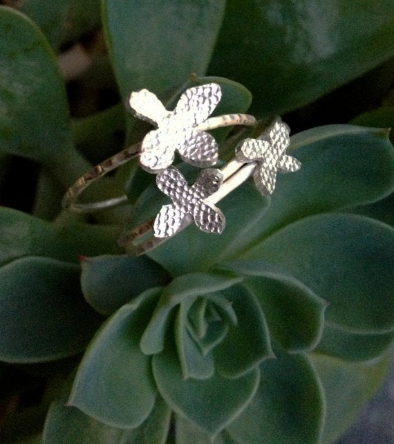Image of Botanical Sterling Silver Floral Stacking Rings