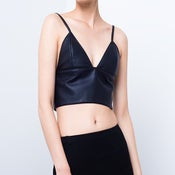 Image of Nicola Triangle Leather Bralette