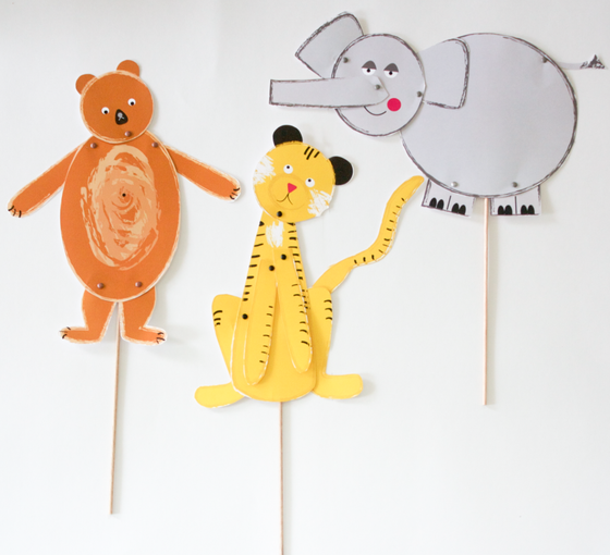 Image of Hinged Circus Animal Puppets- Printable PDF