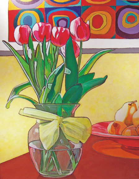 Image of Painting on Canvas: Tulips & Kandinsky