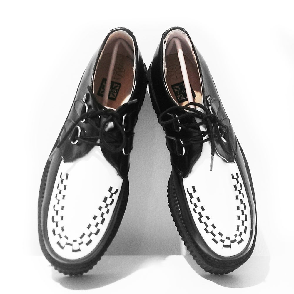 Image of Brand new - T.U.K. Original Shoes - Black and White Leather Mondo Sole Creeper
